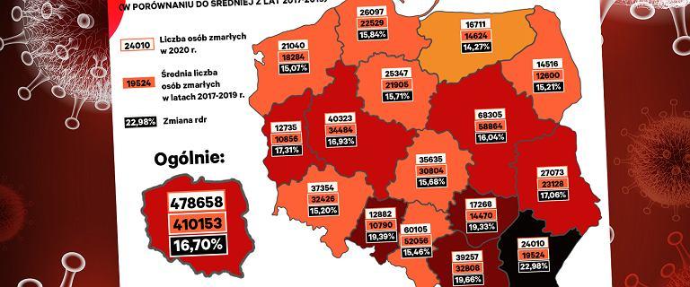 Nadmiarowe śmierci w Polsce w 2020 r. Najbardziej ucierpiało południe kraju