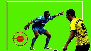 Robert Lewandowski ma największe szanse na pokonanie Diego Lopeza, jeśli skieruje piłkę tam, gdzie wskazuje celownik