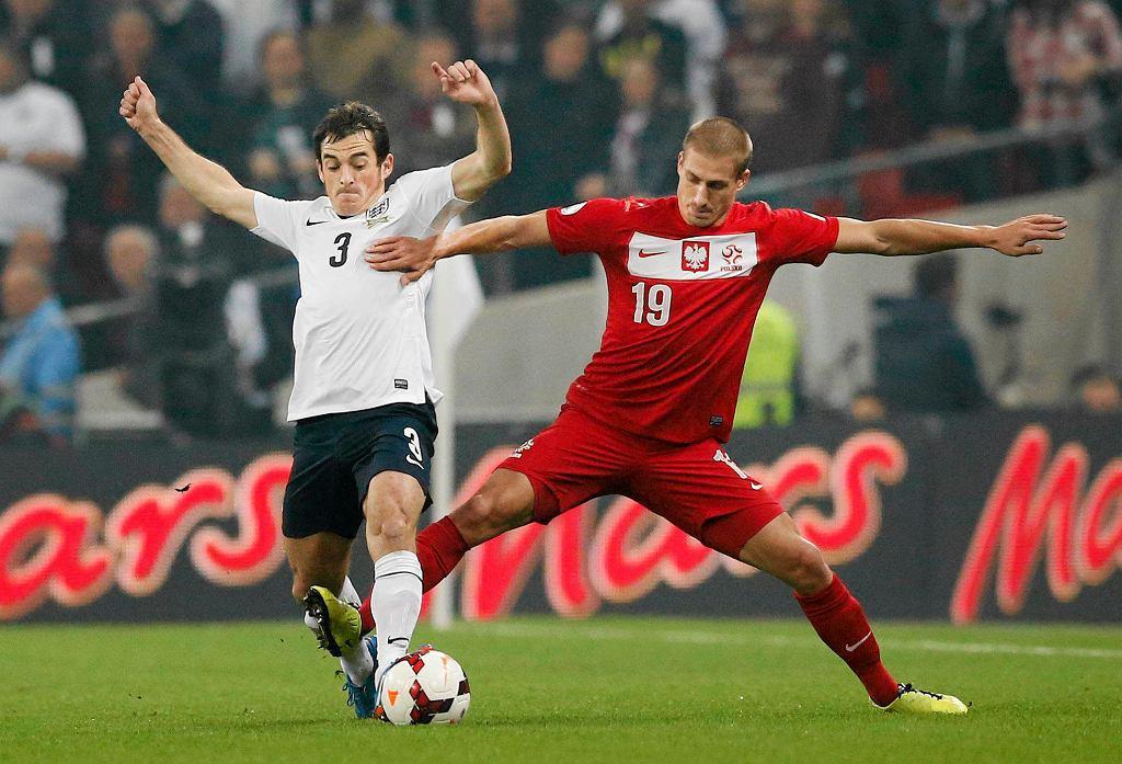 Mecz Anglia - Polska. Leighton Baines kontra Piotr Celeban