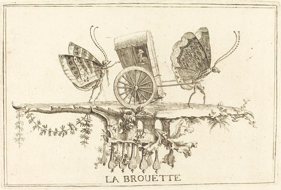 'La Brouette', sztych autorstwa Charles'a Germain de Saint-Aubin, nadwornego hafciarza króla Francji Ludwika XV, około 1756 r.