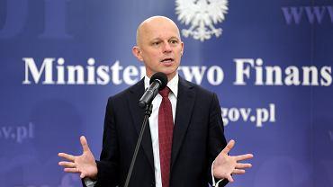 .Konferencja ministra finansow Pawła Szalamachy