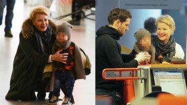 Paparazzi spotkali Małgorzatę Kożuchowską z mężem i synem na lotnisku. Całej trójce dopisywał świetny humor.