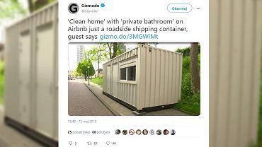 Mężczyzna z Wielkiej Brytanii zarezerwował sobie nocleg za pośrednictwem serwisu Airbnb. Okazało się, że jego mieszkanie to kontener transportowy nielegalnie zaparkowany na poboczu drogi