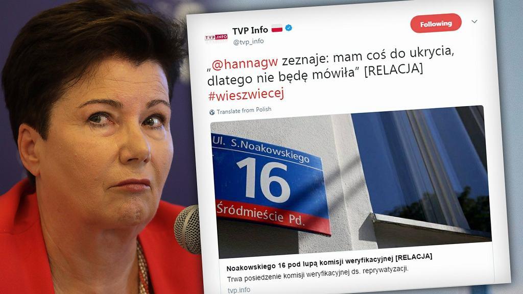 Hanna Gronkiewicz-Waltz i Tweet TVP Info ws. reprywatyzacji