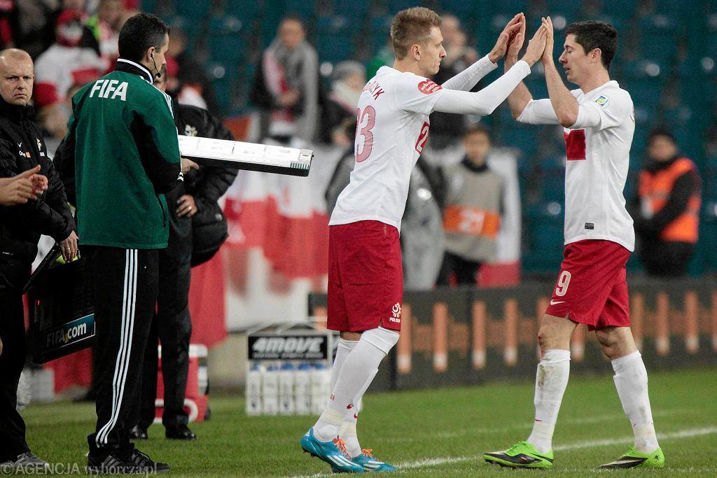 Łukasz Teodorczyk i Robert Lewandowski w meczu Polska - Irlandia