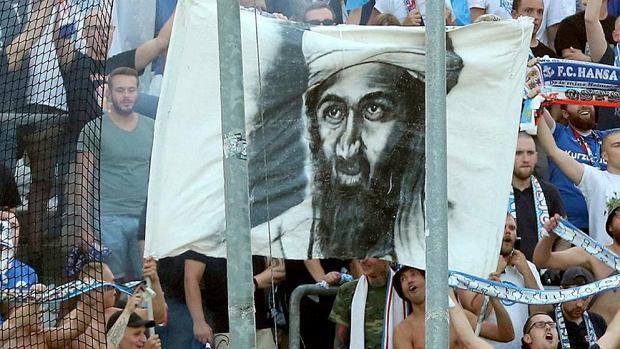 Wizerunek Bin Ladena na meczu Hansy Rostock