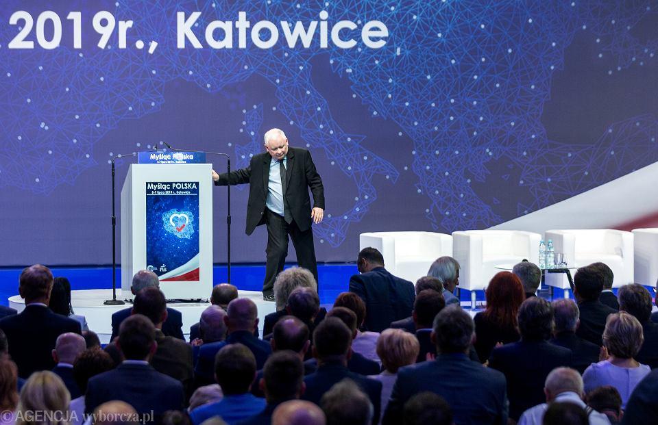 Prezes PiS Jarosław Kaczyński podczas konwencji swojej partii. Katowice, 6 lipca 2019