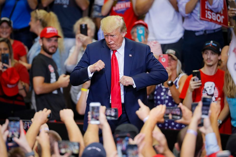 Donald Trump na wiecu w Cincinnati, USA,1 sierpnia 2019