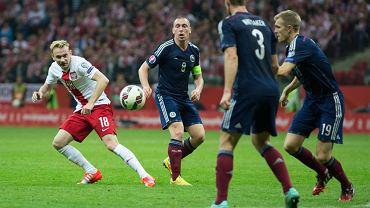 Sebastian Mila w meczu Polska - Szkocja