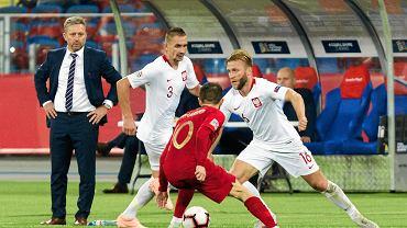 Selekcjoner Jerzy Brzęczek podczas meczu Polska - Portugalia. Chorzów, Stadion Śląski, 10 października 2018