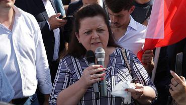 Renata Beger na proteście rolników w Warszawie przeciwko 'Piątce dla zwierząt'