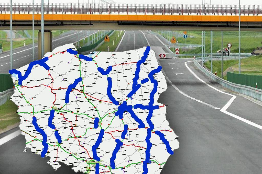 Najnowsza mapa przedstawiająca Program Budowy Dróg. Na mapie kolorem niebieskim zaznaczono zadania, które planowane są do realizacji w ramach nowego limitu finansowego.