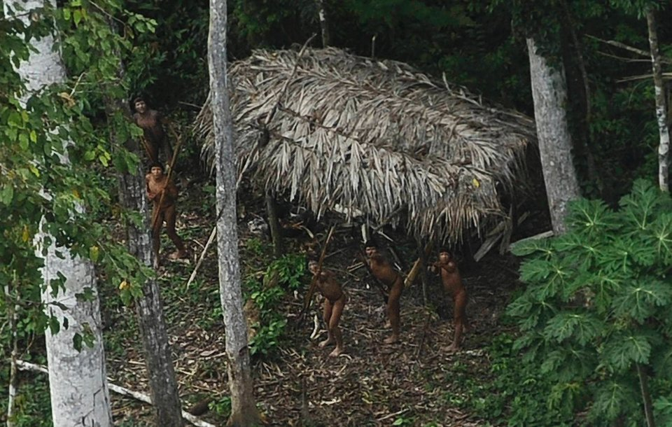 W dorzeczu Amazonii, przy granicy Brazylii z Peru, w ubiegłym tygodniu przypadkiem odkryto plemię Indian, które nie miało dotąd kontaktu z cywilizacją. Fotoreporterowi Reutersa, Lunae Parracho, udało się zrobić zdjęcia mieszkańcom osady. Według antropologów, sfotografowane plemię nie zostało jeszcze zbadane, ani opisane. Na zdjęciu: Indianie nerwowo zareagowali na przelatujący nad ich osadą samolot.