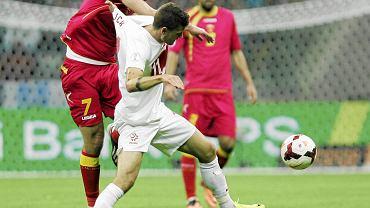 Mateusz Klich podczas meczu z Czarnogórą