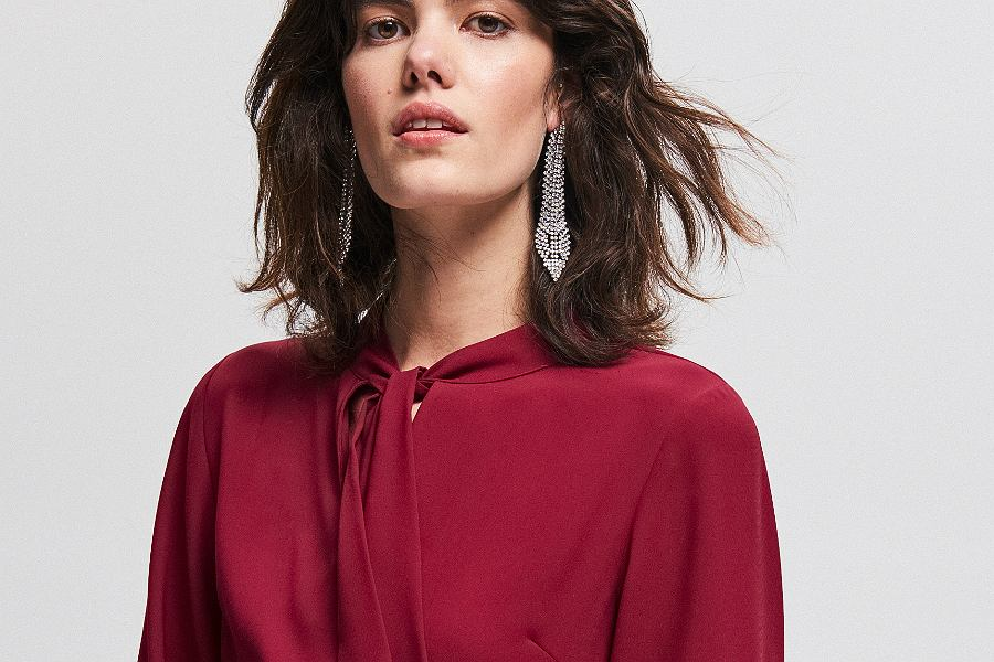 sukienka midi Reserved w kolorze bordowym