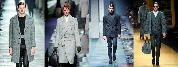 Od lewej: stylizacje Neil Barrett, Louis Vuitton, Corneliani, Zegna, fot. Imaxtree, moda męska, jesień 2013, trendy