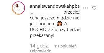 Komentarz z Instagrama Anny Lewandowskiej