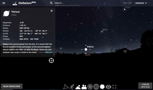 Wenus 24 grudnia w Stellarium