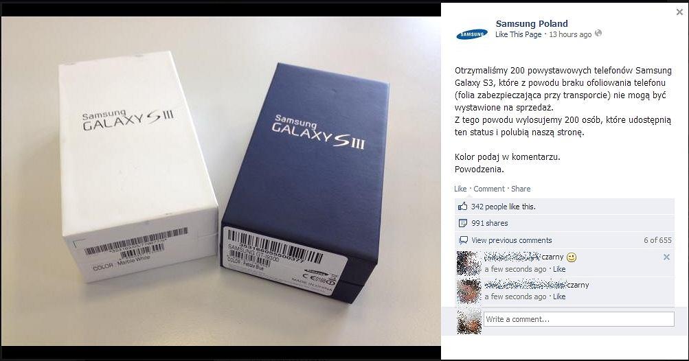 Fałszywy fanpage Samsung Poland