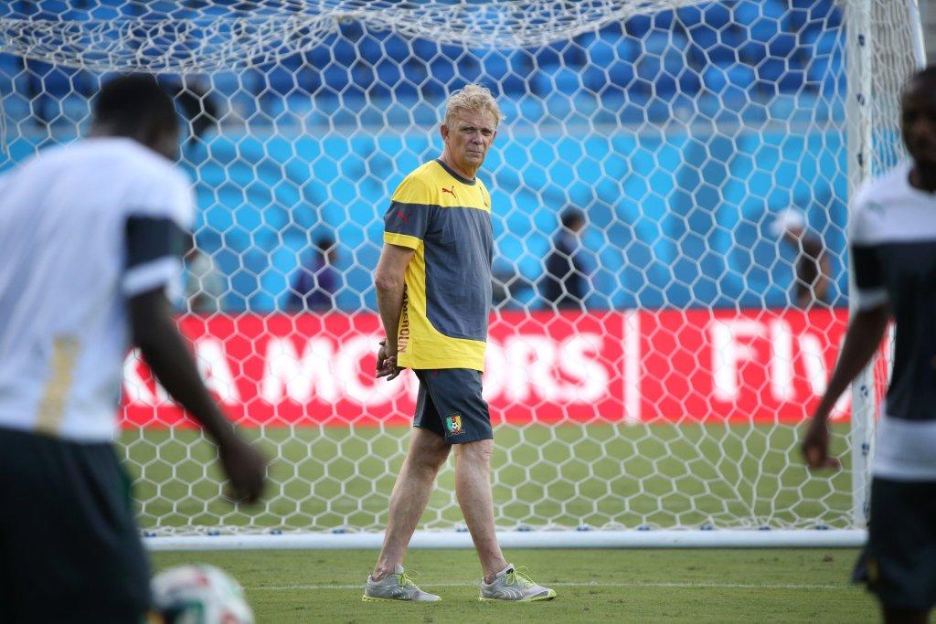 Trening reprezentacji Kamerunu na stadionie w Natal. Volker Finke