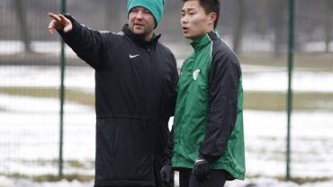 Chińczyk Yu Fei na treningu Warty Poznań