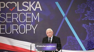 Lublin. Prezes Jarosław Kaczyński podczas konwencji PiS