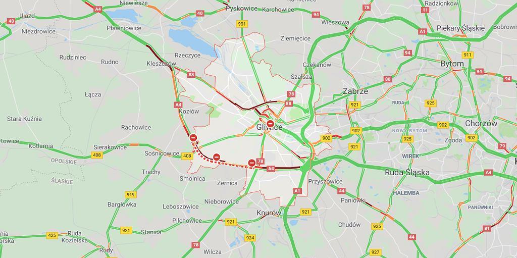Wypadek na A4 w Gliwicach. Droga zablokowana w obu kierunkach