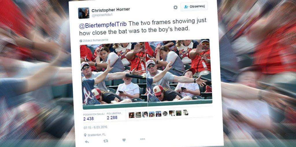Ojciec zasłonił swojego syna przed nadlatującym kijem baseballowym
