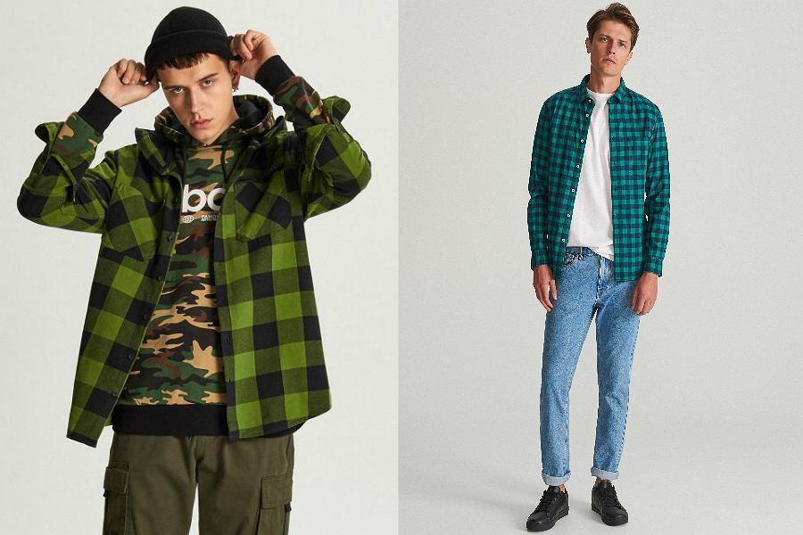 Koszule flanelowe męskie zielone