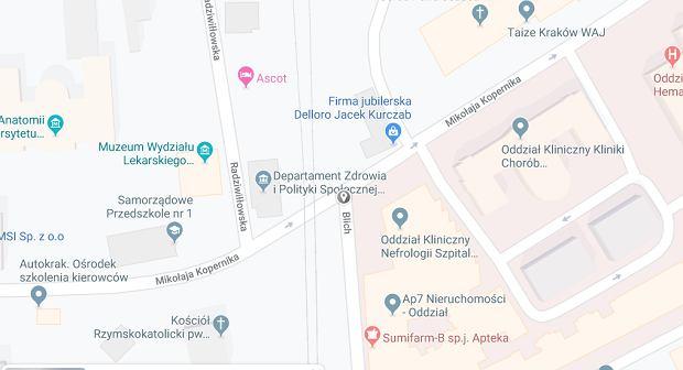 Kraków skrzyżowanie ulic Kopernika i Blich