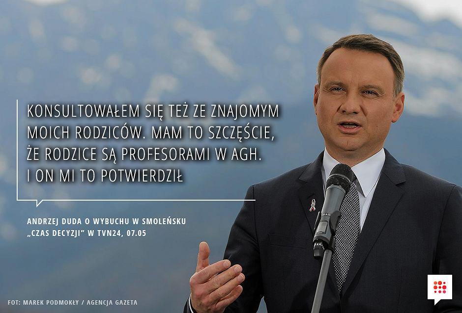 Andrzej Duda o wybuchu w Smoleńsku