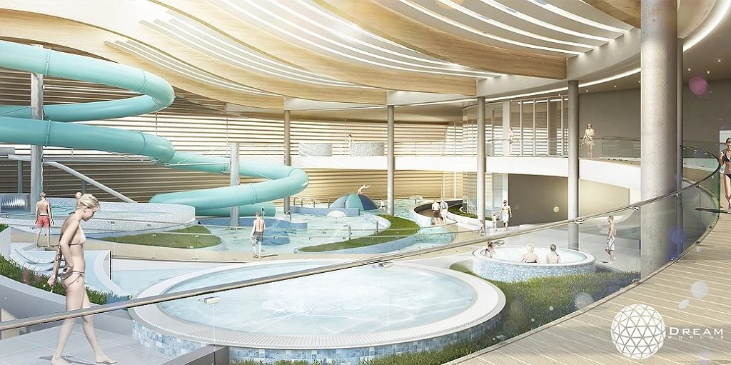 Wizualizacja wnętrza hali basenowej