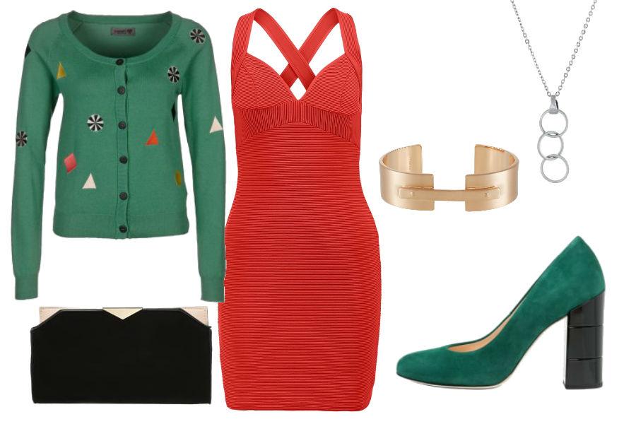 fot. materiały partnera, czerwona sukienka, zielony sweter, kopertówka