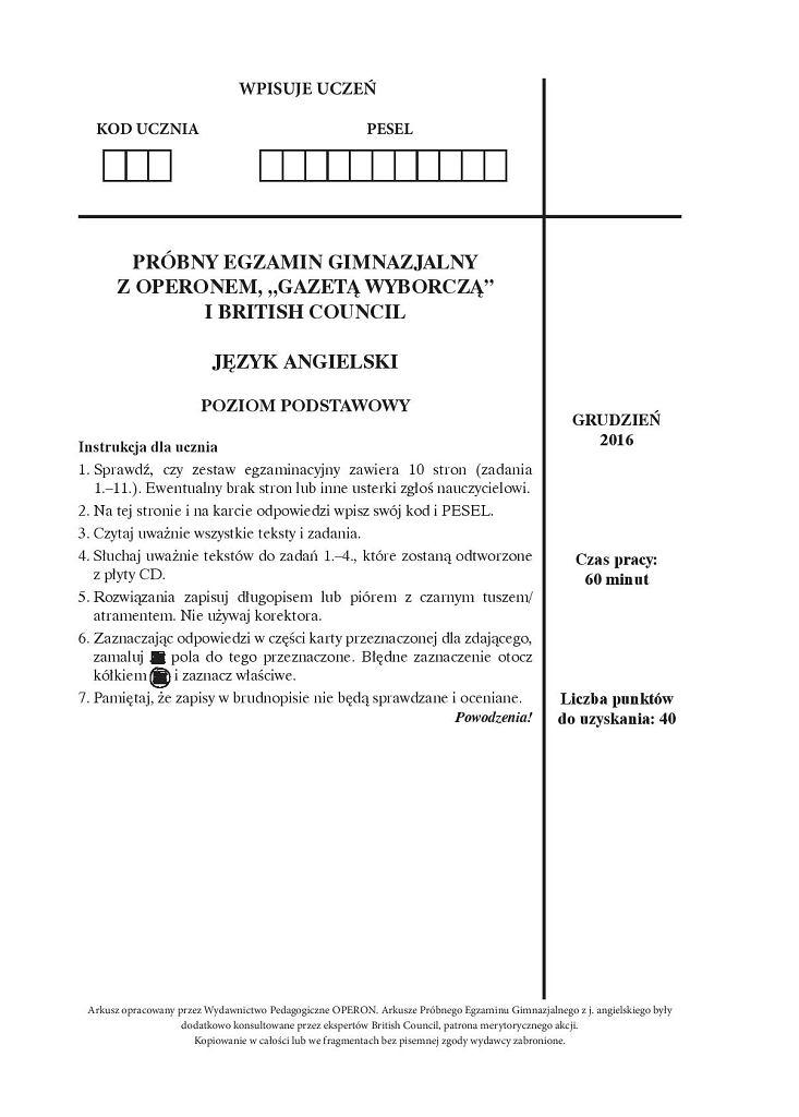 Próbny egzamin gimnazjalny Operon, angielski, arkusz 1