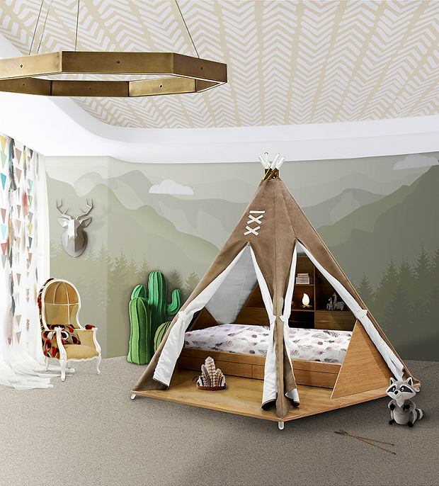 Łóżko dziecięce w kształcie namiotu