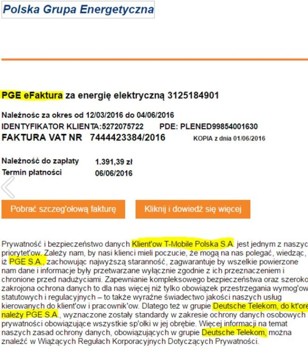 Fałszywa faktura PGE