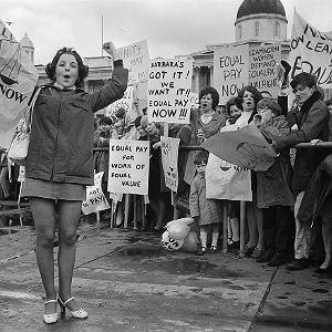18 maja 1969, Londyn. Pauline Bercker na manifestację kobiet na Trafalgar Square przyjechała aż z Leeds