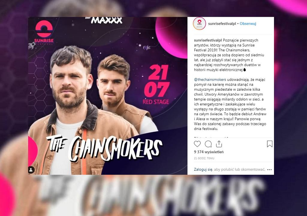 The Chainsmokers zagrają na Sunrise Festival 2019