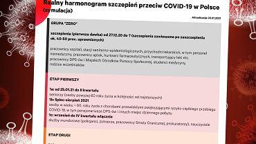 Harmonogram szczepień - grupy na podstawie oficjalnych danych z Ministerstwa Zdrowia, terminy na podstawie własnych szacunków gazeta.pl