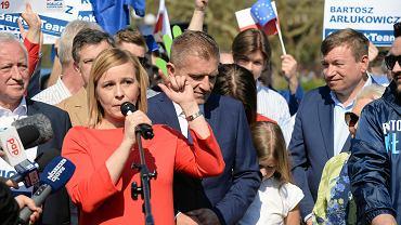 Magdalena Filiks podczas regionalnej inauguracji kampanii Koalicji Europejskiej. Tu razem z PO