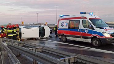 Wypadek na Trasie Toruńskiej, jezdnia w kierunku Bielan