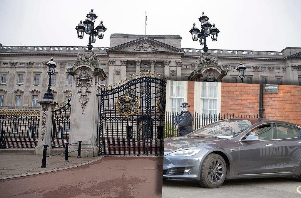 Pałac Buckingham i książę Karol za kierownicą Tesli Model S
