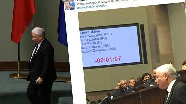 Kaczyński przemawiał w obronie Kuchcińskiego