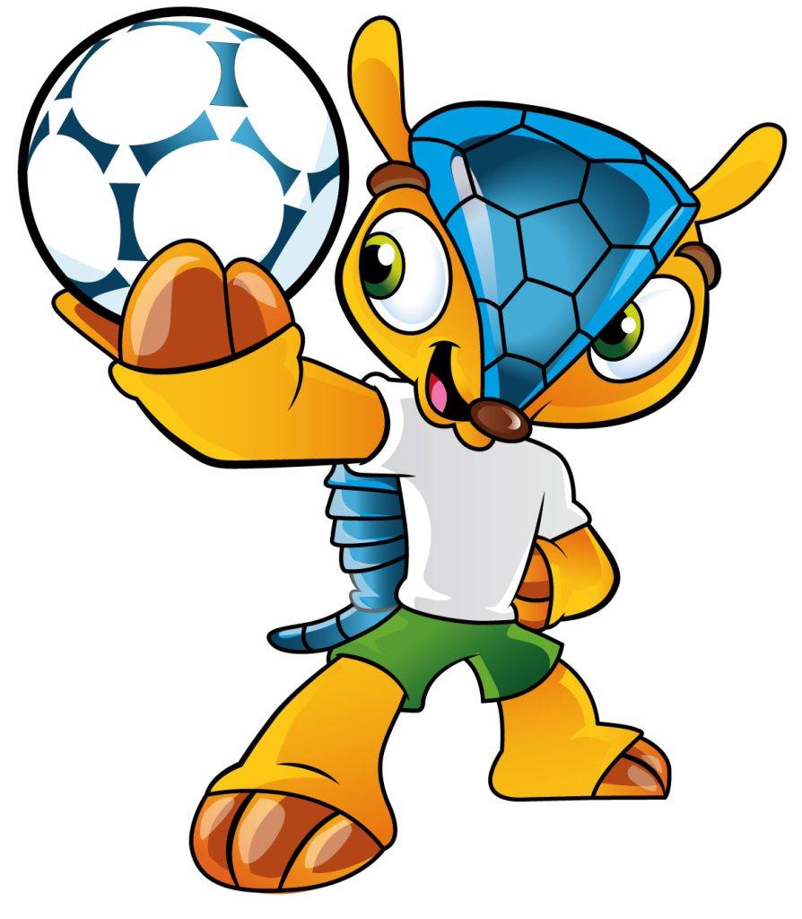 <b>2014 - Fuleco; pancernik kulowaty, którego imię stanowi połączenie słów: futebol - piłka nożna i ecologia - ekologia. </b>