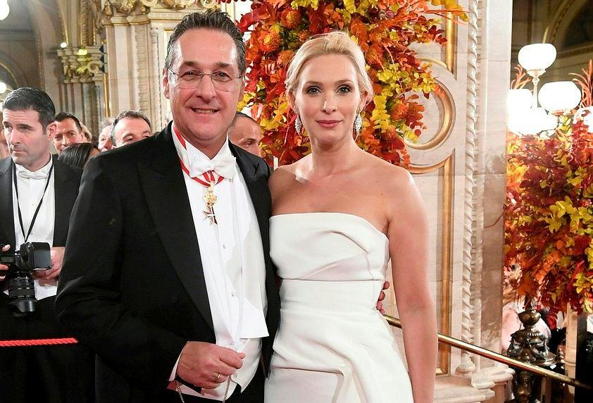 Heinz-Christian Strache z żoną Philippą Strache