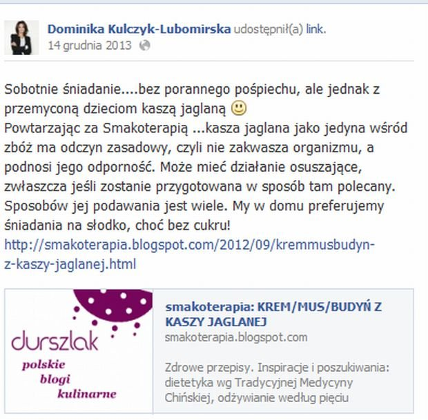 Facebook Dominiki Kulczyk