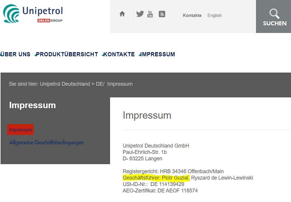 strona Unipetrol Deutschland GmbH