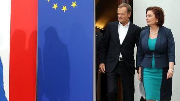 Donald Tusk i Małgorzata Kidawa-Błońska podczas konferencji prasowej kandydatek do PE
