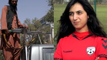 A Taliban fighter and Khalida Popal, the former Afghanistan national women's team captain