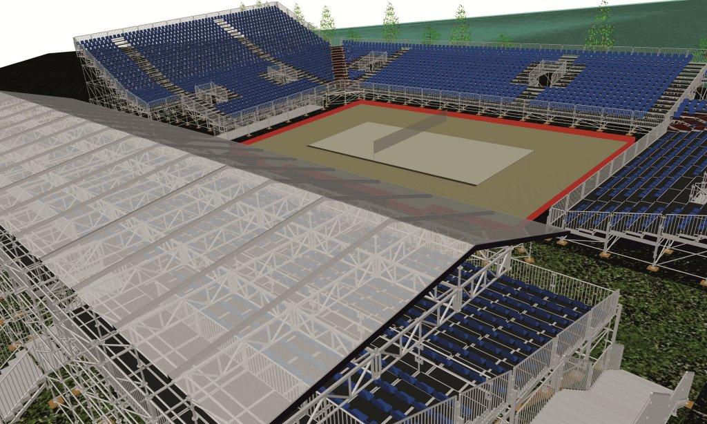 Główna arena Pucharu Świata w siatkówce plażowej. Na trybunach w Olsztynie zasiąść ma nawet 4 tys. osób